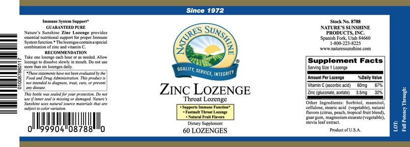 Zinc Lozenge label